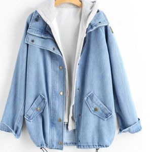 🆕 ZAFUL Oversized Jean Jacket / Coat - L (NWOT)